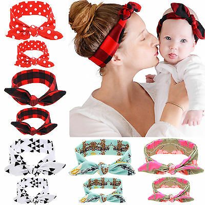 Mum Baby Mother Daughter Women Girls Parent Child Bow Knot Headband Headdress N
