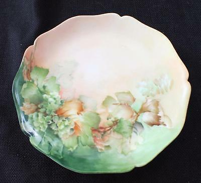 "Vntg W M GUERIN Limoges France Hand Painted Green Red LEAVES 7"" Salad Plate"