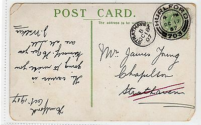Picture postcard with STRATHAVEN thimble type postmark (C18877)