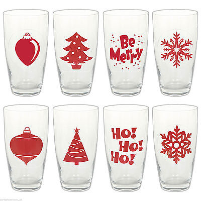 Festive Christmas Glass Tumbler Label Sticker Decal, 16 Pack Party Decoration
