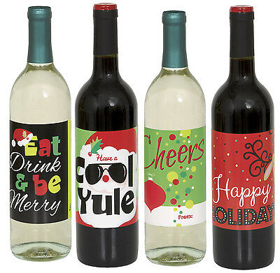 Festive Christmas Wine Bottle Labels 4 Pack Party Decoration Stickers