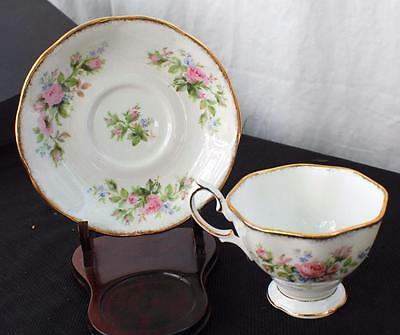 Vintage ROYAL ALBERT Bone China England MOSS ROSE Pattern Footed Cup Saucer