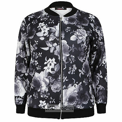 2e9698867 LADIES WOMENS CASUAL Bomber Jacket Floral Plus Size 14 16 18 20 22 ...