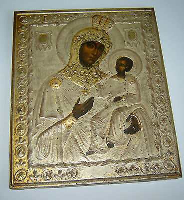 ANTIQUE Old 19c RUSSIAN IMPERIAL ICON TIN LITHO PRINT VIRGIN MARY & BABY JESUS