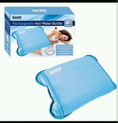 New Blue Rechargeable Electric Hot Water Bottle Heat Pad Warmer Soft Touch Cover