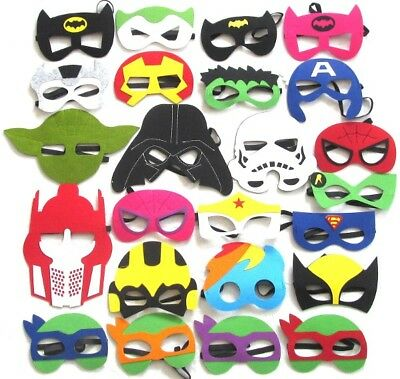 Kids Fancy Dress Face Masks-Boys Girls Superhero Felt Mask Party Movie Costume