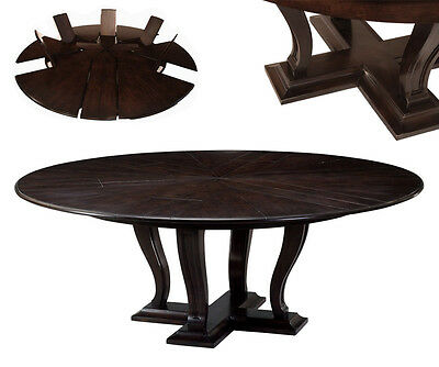 Round expandable solid oak dining table with hidden leaves | 84 inch round ebony