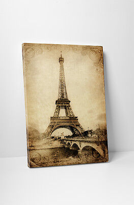 """Paris Eiffel Tower Vintage Poster Stretched Canvas Wall Art 30""""x20"""" or 20""""x16"""""""