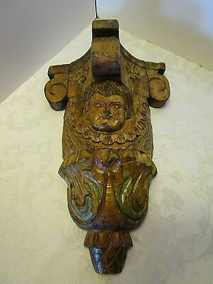 """HAND CARVED WOOD Wall ANGEL CHERUB CORBEL ANTIQUE Santos Architecture 16"""" tall"""