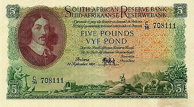 SOUTH AFRICA 5 Pounds XF 1951 p-96a large size/scarce note