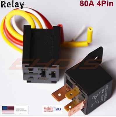 12V 80A SPST DC Car 4-Pin Relay With Harness