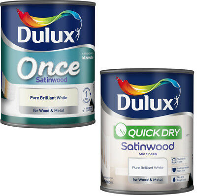 Dulux Satinwood Pure Brilliant White Interior Paint in Once and Quick Dry 750ml