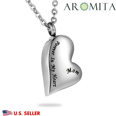 Dear Mom Forever in My Heart Cremation Jewelry Keepsake Memorial Urn Necklace