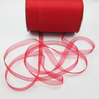 "NEW Christmas hot sale 50 Yards 3/8"" Edge Sheer Organza Ribbon Craft Satin Red B"