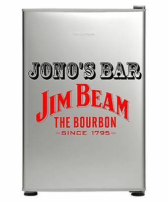 Jim Beam Bar Fridge Vinyl Cut Sticker Decal With Your Name