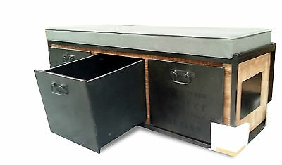 Industrial Reclaimed Wood 3 Seater Bench Seat Storage Cabinets