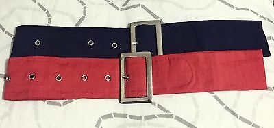Kids Belts Accessories Girls Waist Belt Stretch BUCKLE  RED+NAVY 2x Pack