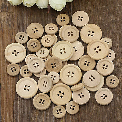 50 Pcs Mixed Wooden Buttons Natural Color Round 4-Holes Sewing Scrapbooking P