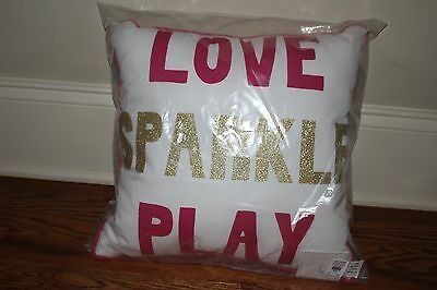 NWT Pottery Barn Kids Love Sparkle Play decorative pillow bright pink