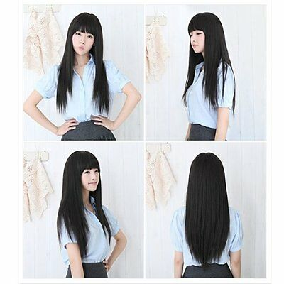 AGPtek® New Style Black Fashion Long Straight Full Hair Wig Cosplay
