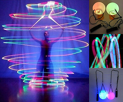 1 Pair Belly Dance Light Up LED Grow Poi Balls 7 Colors Professional Level Hand