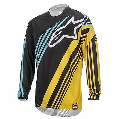 Alpinestars NEW Mx Gear Racer Supermatic BMX Black Yellow Teal Motocross Jersey