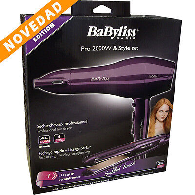BABYLISS Set Style Secador + Planchas Ceramic Pelo Profesional 2000 W Nuevo New