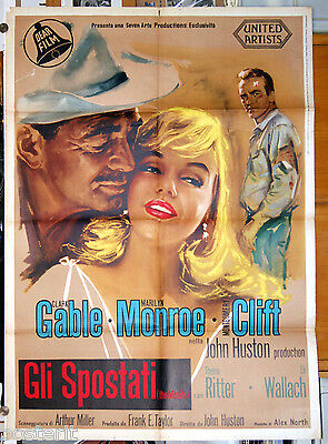 manifesto 2F film GLI SPOSTATI - THE MISFITS Marilyn Monroe Clark Gable 1961 GM