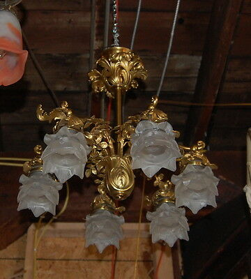 Fancy Anitique 6 Arm Brass Chandelier With Heavy Detail Pedal Frosted Shades