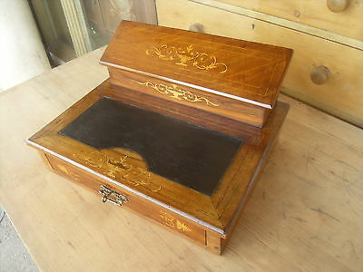 Edwardian Antique Mahogany Or Rosewood Writing Slope With Drawer  ( Lockable )