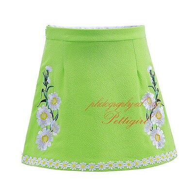 Girls Daisy Skirts Kids Embroidered Skirt Summer Floral Party A-line  Age 3-12