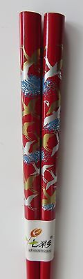 Chopsticks   1 pair   Red lacquered Bamboo   Cranes design