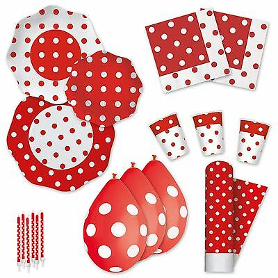 Red Polka Dot Disposable Party Tableware Plates Cups Napkins Tablecover Candles