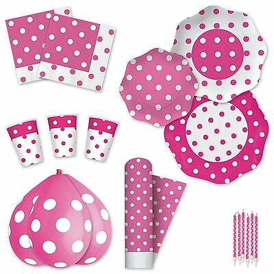 Pink Polka Dot Disposable Party Tableware Plates Cups Napkins Tablecover Candles