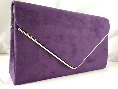 New Purple Faux Suede Evening Day Clutch Bag Wedding Club Party Prom Xmas