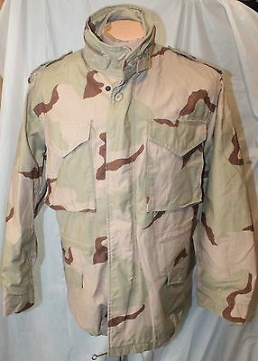 1St Desert Storm Era Us Army 3-Color Desert Camo M65 Field Coat Small Regular