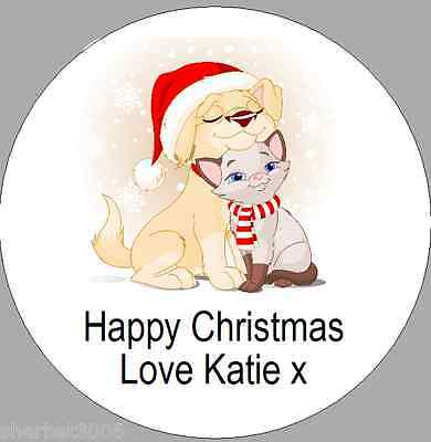 24 x 40mm Personalised Stickers Round Christmas Labels Puppy Dog & Cat