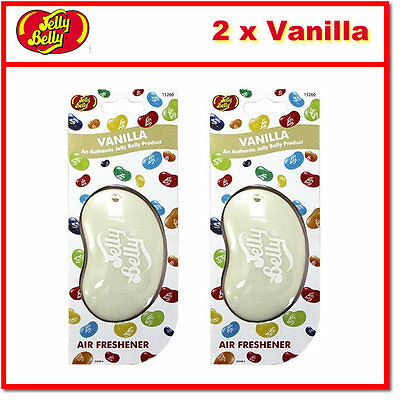 2 x Jelly Belly 3D Bean Hanging Car Air Freshener - Vanilla Scent