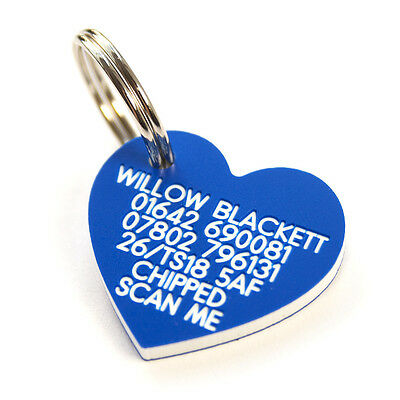 Engraved Plastic pet tag medium heart 30mm x 27mm