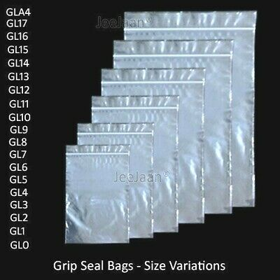 Resealable Gripseal Grip Seal Bags Poly Polythene Plastic Plain Clear Zip Lock