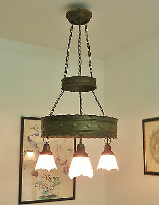 Fabulous Vintage French Chateau Chandelier Light Tole Toleware Gothic Style