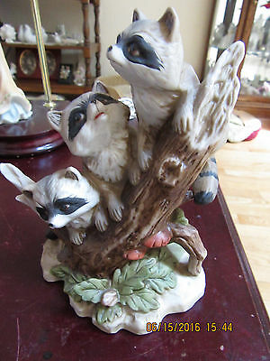 Home Interior Porcelain 3 racoons on a branch 1433