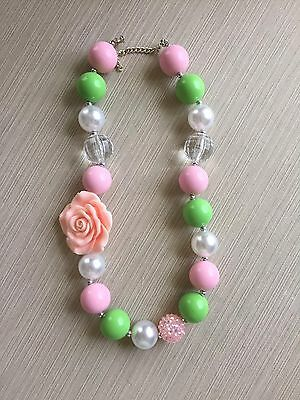 Baby, Newborn, Toddler, Girls Chunky Baby Bubblegum Necklace, Pink & White