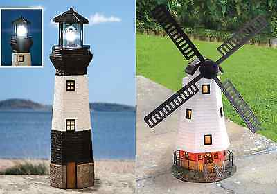 Solar Traditional Outdoor Garden Lighting Ornament Windmill /Rotating Lighthouse