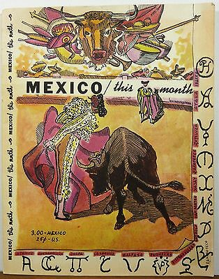 1958 This Month in Mexico - October vintage travel booklet Bullfighting cover b