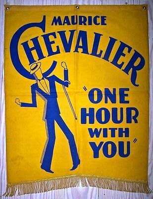 Reduced!! One Hour With You '32 Cloth Banner Chevalier Macdonald Lubitsch!