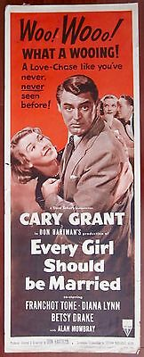 Every Girl Should Be Married - Vintage R54 Insert Poster - Cary Grant Love Chase