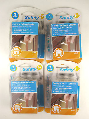 LOT (4) 3-packs Safety 1st Spring n' Release Latches NEW 12 Total Child Baby