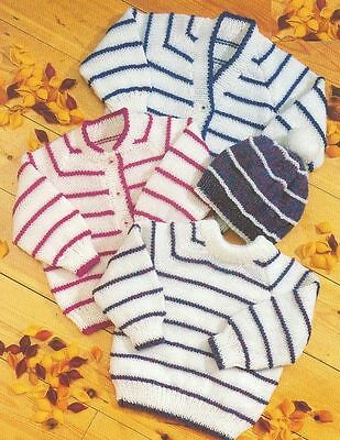 (753) DK Knitting Pattern for Baby Cardigans, Sweater and Hat, 16-24''