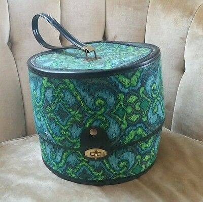 Vintage Bagmaster Mod Groovy 60's 70's Mid Century Hat or Wig Box with Label